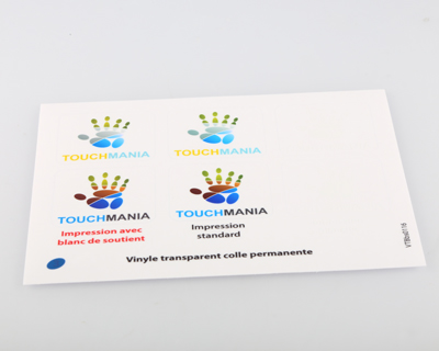 echantillon sticker transparent blanc soutien