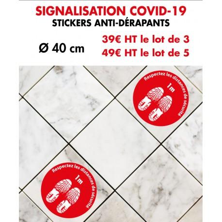 Stickers anti-dérapants signalisation COVID-19 diam 40 cm