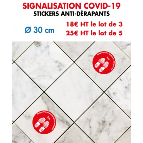 Stickers anti-dérapants signalisation COVID-19 diam 40 cm